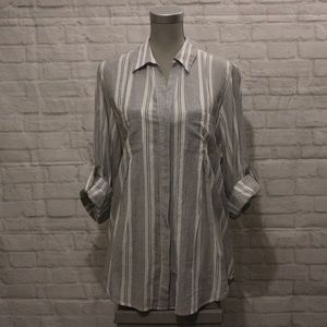 Lord & Taylor | Grey Stripped Button-Down Blouse